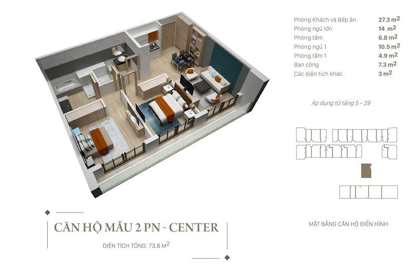 Thiết kế căn hộ 2pn Center dự án Citadines Hạ Long - Quảng Ninh