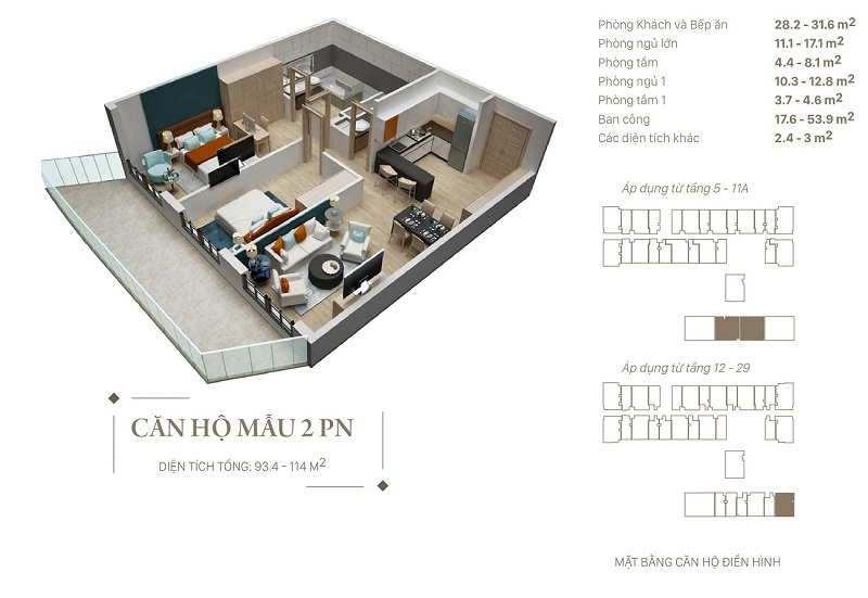 Thiết kế căn hộ 2pn dự án Citadines Hạ Long - Quảng Ninh