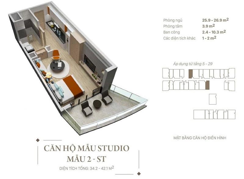 Thiết kế căn hộ Studio dự án Citadines Hạ Long - Quảng Ninh