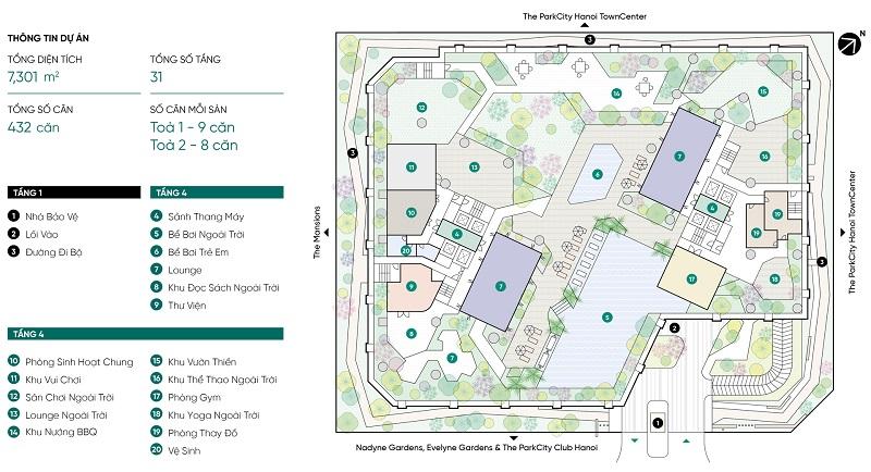 Tiện ích chung cư Park Kiara dự án Park City Hà Đông