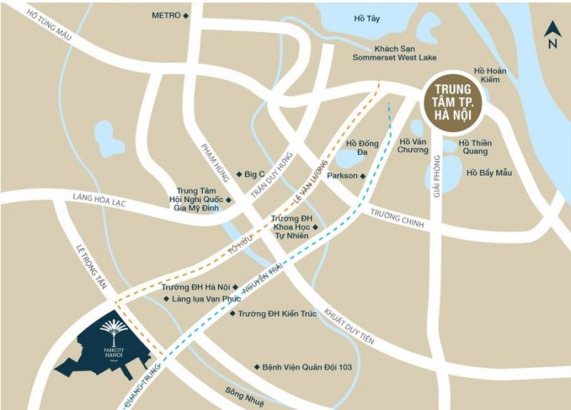 Vị trí dự án chung cư Park Kiara dự án Park City Hà Đông