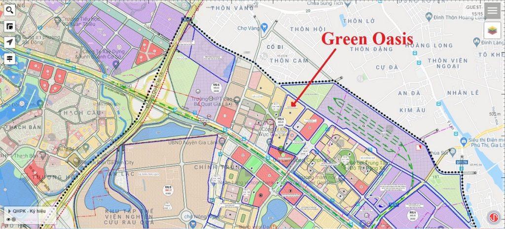 Vị trí dự án liền kề Green Oasis Cổ Bi - Gia Lâm
