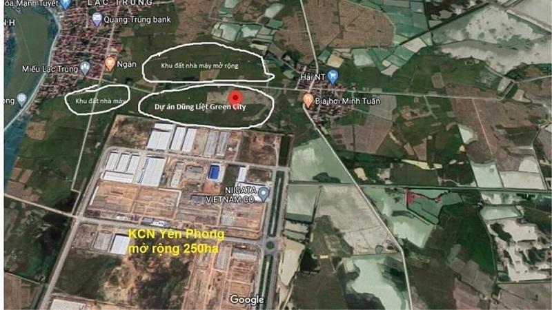 Bản đồ dự án Dũng Liệt Green City Yên Phong - Bắc Ninh