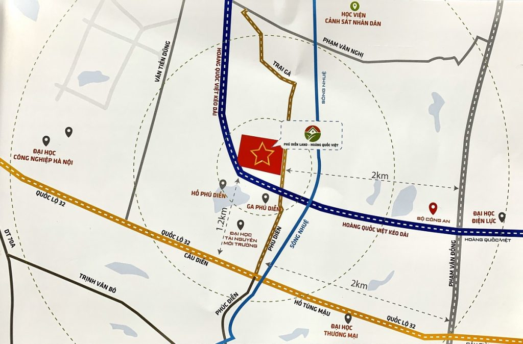 Bản đồ dự án Liền kề Phú Diễn Vinadic