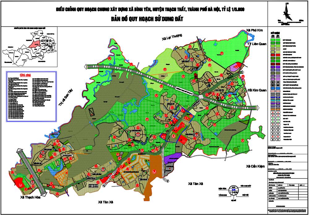 Bản đồ quy hoạch sử dụng đất xã Bình Yên - Thạch Thất (Hòa Lạc)