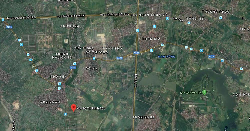 Bản đồ vị trí dự án Khu đô thị Minh Đức - Mê Linh