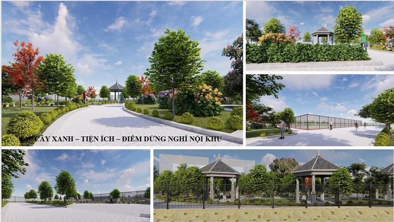 Cảnh quan cây xanh đô thị dự án Minh Đức - Mê Linh Vista City