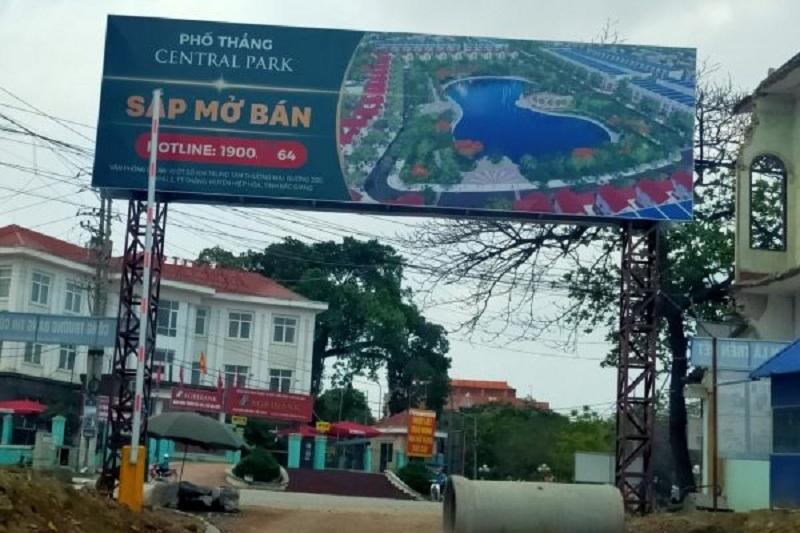 Cổng dự án Phố Thắng Central Park Bắc Giang