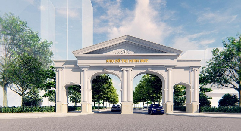 Cổng dự án Khu đô thị Minh Đức - Mê Linh