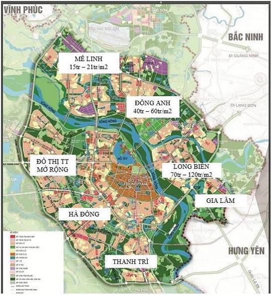 Giá đất trung bình các khu vực ven đô Hà Nội