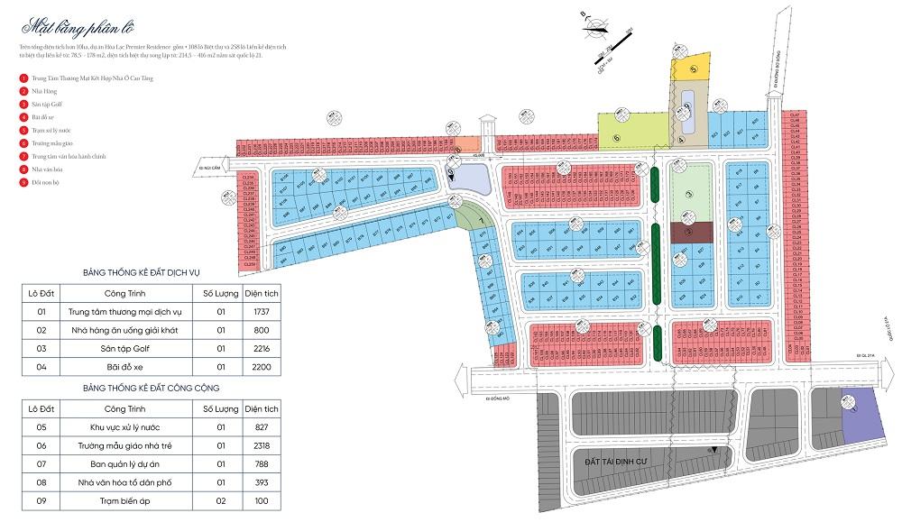 Mặt bằng phân lô dự án Hòa Lạc Premier Residence 2020