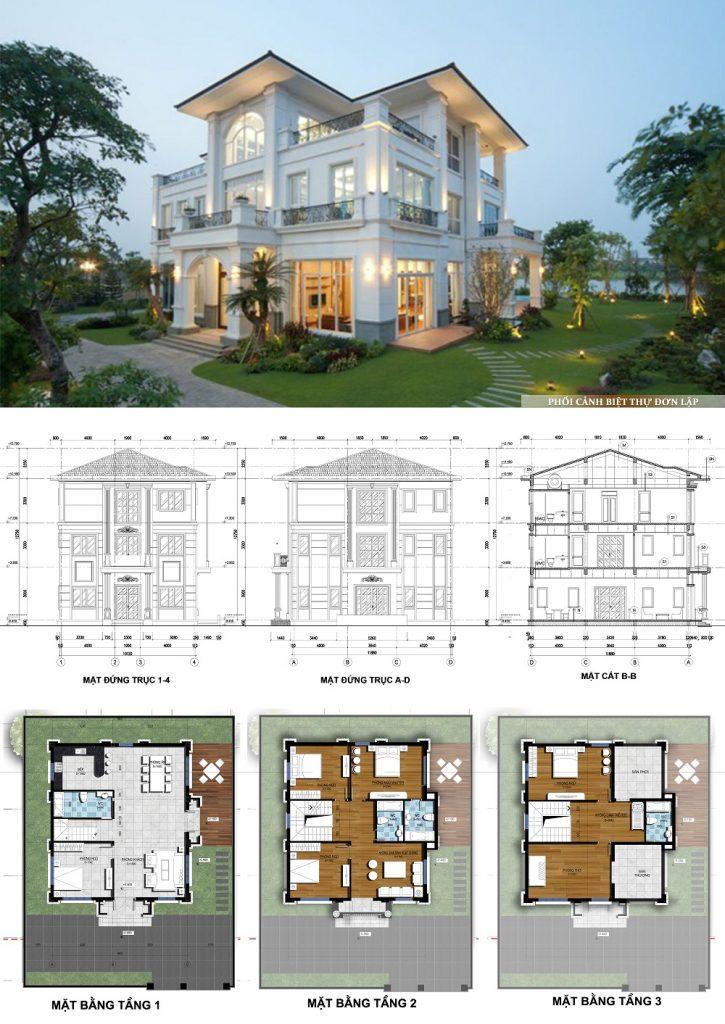 Mẫu thiết kế biệt thự đơn lập dự án Mê Linh Vista City 2020