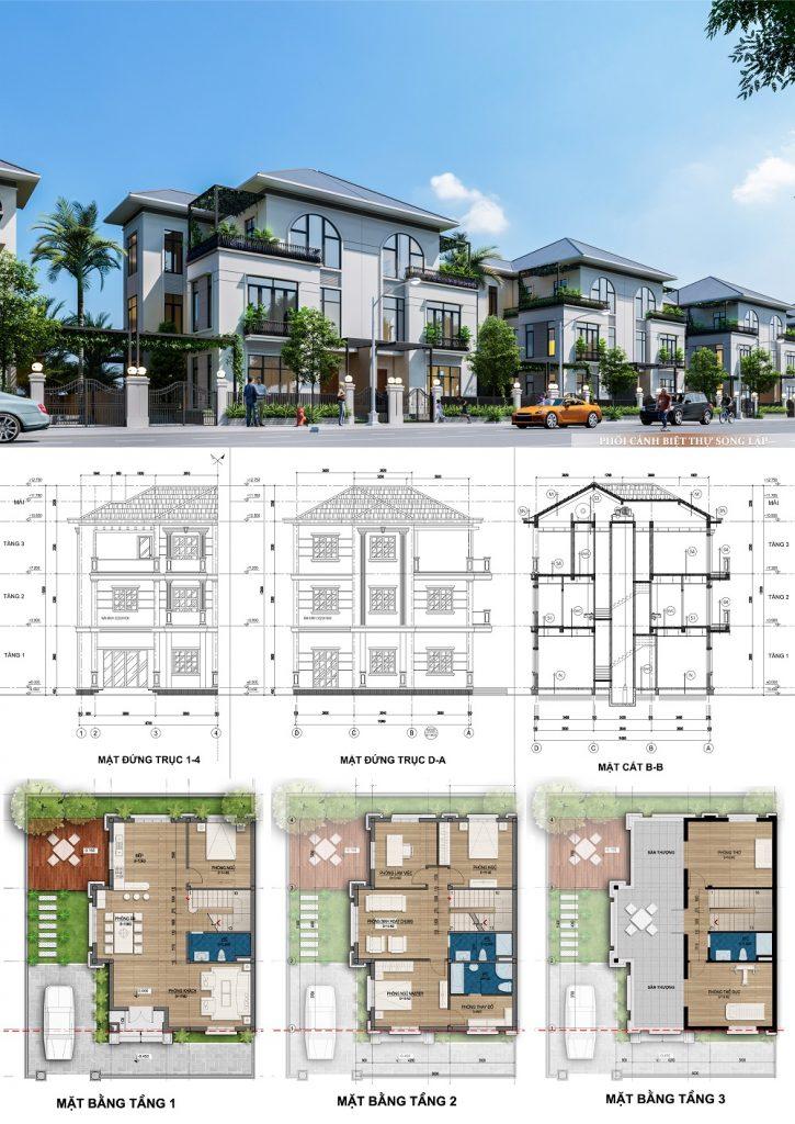 Mẫu thiết kế biệt thự song lập dự án Mê Linh Vista City 2020