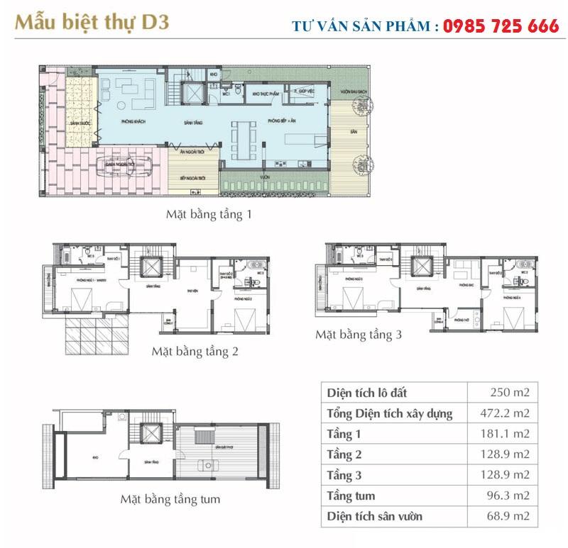 Mẫu thiết kế D3 Sol Lake Villa Biệt thự Đô Nghĩa - Dương Nội - Nam Cường