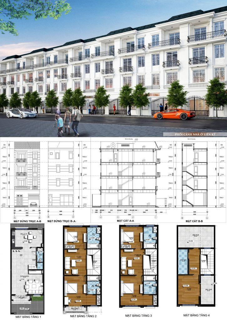Mẫu thiết kế liền kề dự án Mê Linh Vista City 2020