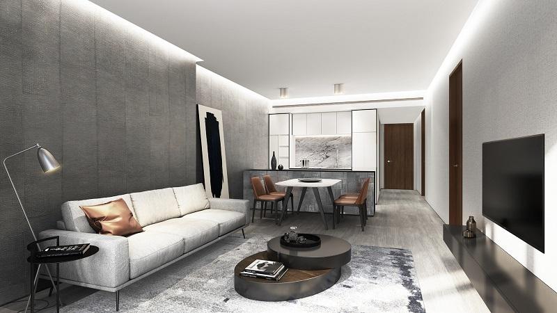 Nội thất phòng khách dự án Fraser Residence Simco Xuân Đỉnh