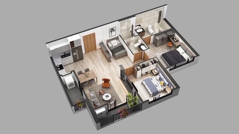 Phối cảnh 2 căn hộ 2pn dự án chung cư Sky Oasis Ecopark