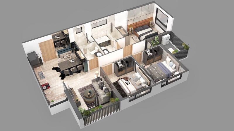 Phối cảnh 2 căn hộ 3pn dự án chung cư Sky Oasis Ecopark