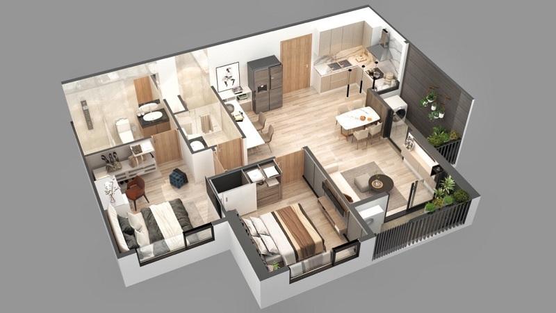 Phối cảnh căn hộ 2pn dự án chung cư Sky Oasis Ecopark