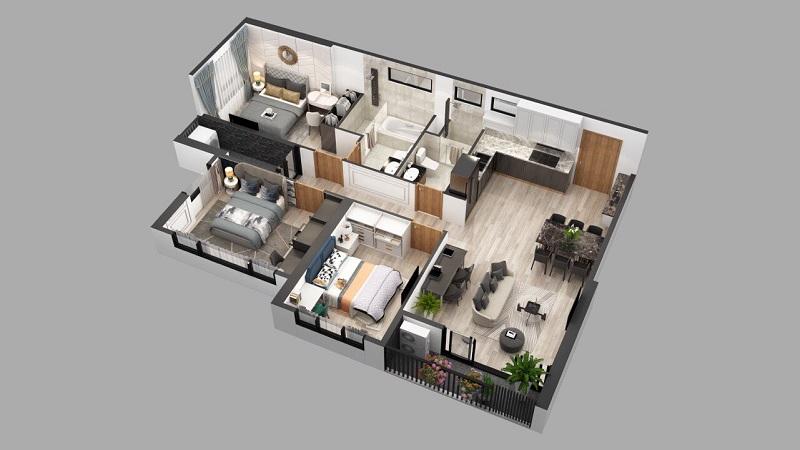 Phối cảnh căn hộ 3pn dự án chung cư Sky Oasis Ecopark