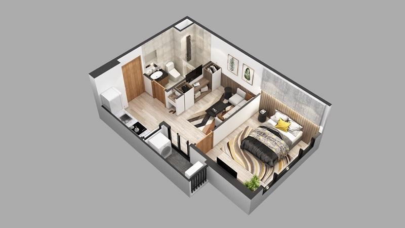 Phối cảnh căn hộ Studio - 1pn dự án chung cư Sky Oasis Ecopark