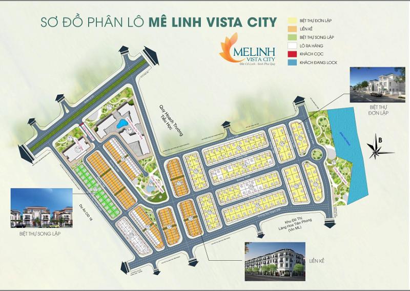 Sơ đồ phân lô dự án Mê Linh Vista City 2020