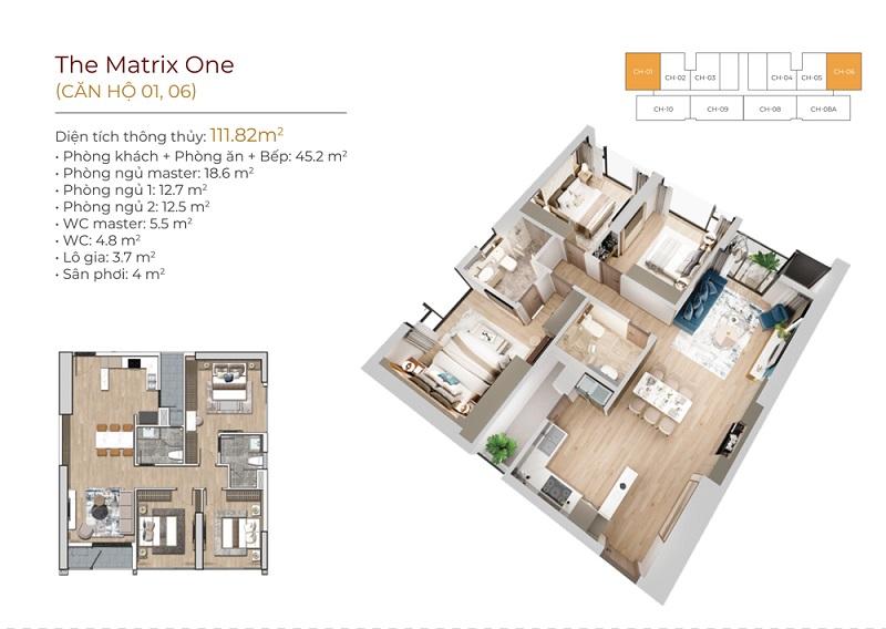 Thiết kế căn hộ 01-06 dự án The Matrix One Mễ Trì MIK