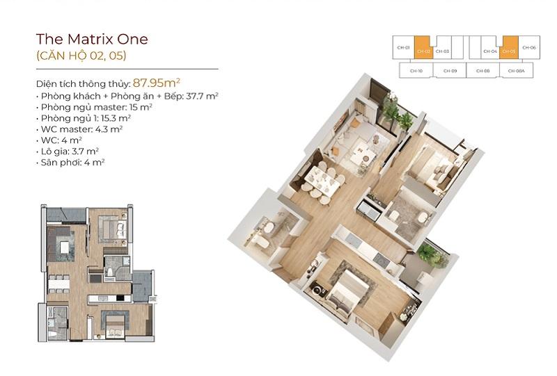 Thiết kế căn hộ 02-05 dự án The Matrix One Mễ Trì MIK