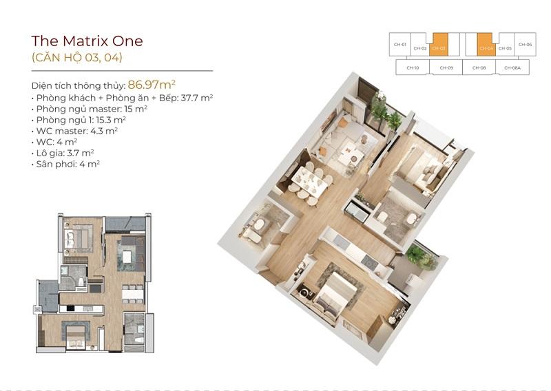 Thiết kế căn hộ 03-04 dự án The Matrix One Mễ Trì MIK