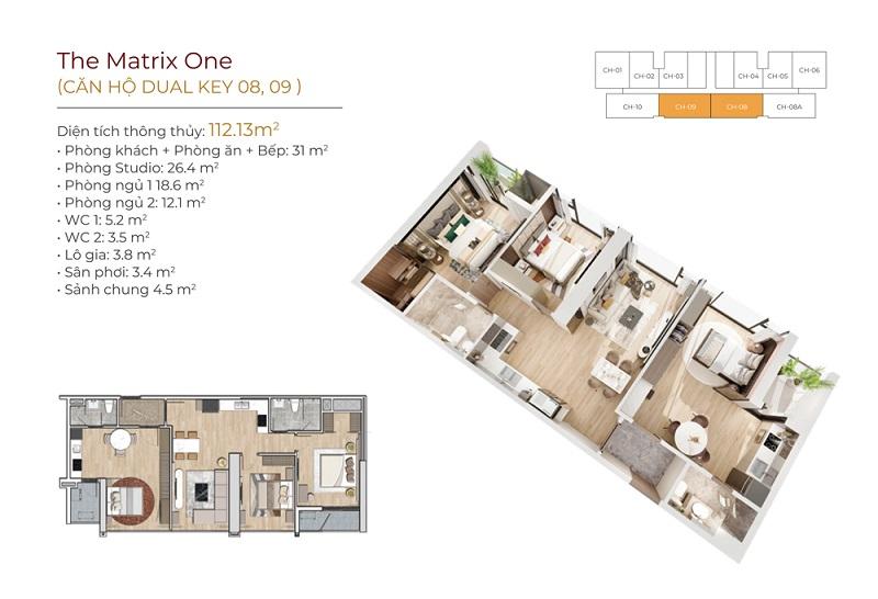 Thiết kế căn hộ 08-09 dự án The Matrix One Mễ Trì MIK