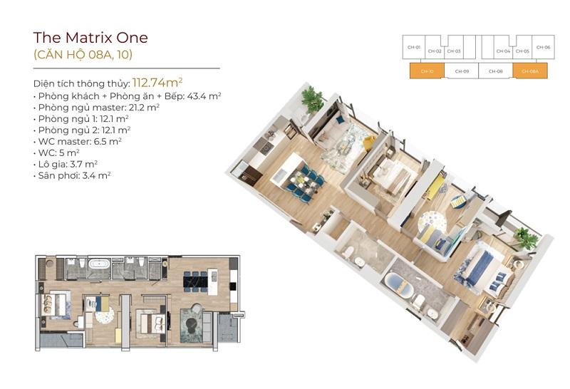 Thiết kế căn hộ 08A-10 dự án The Matrix One Mễ Trì MIK
