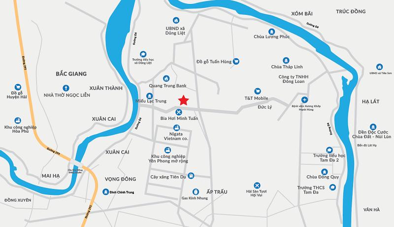 Vị trí dự án Dũng Liệt Green City Yên Phong - Bắc Ninh