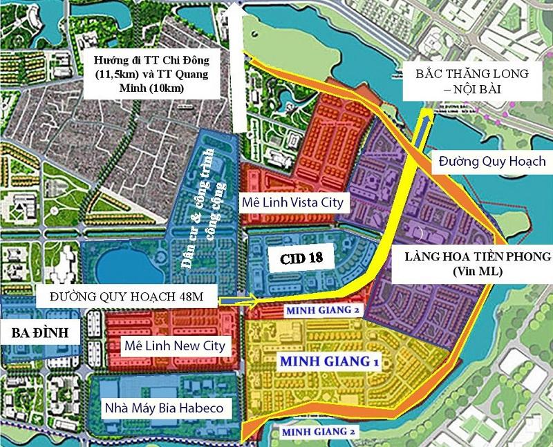 Vị trí tiếp giáp dự án Mê Linh Vista City 2020