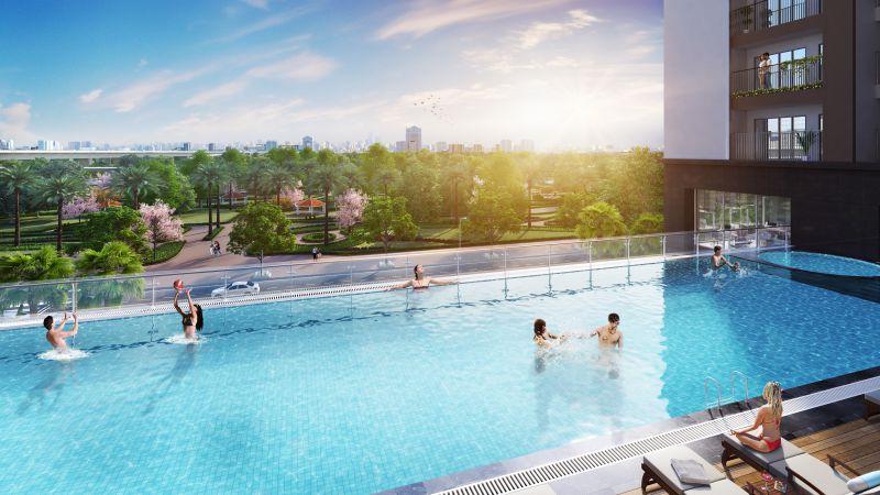Bể bơi dự án Phương Đông Green Park số 01 Trần Thủ Độ