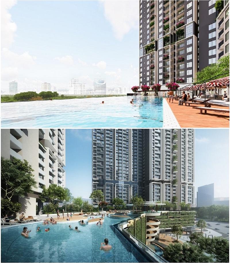 Bể bơi ngoài trời chung cư The Dandelion Residence Gamuda Yên Sở