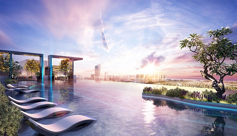 Bể bơi trên cao tại chung cư Sky Oasis Ecopark