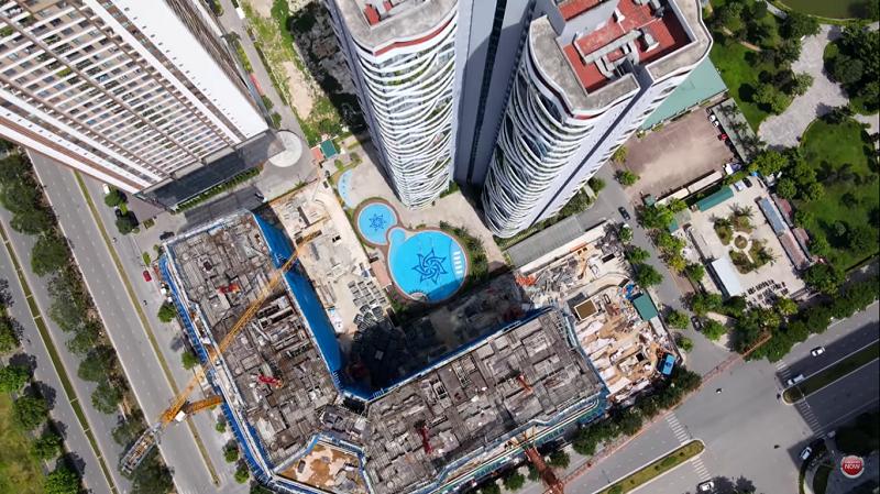 Flycam tiến độ thực tế dự án Han Jardin N01-T6-T7 Ngoại Giao Đoàn