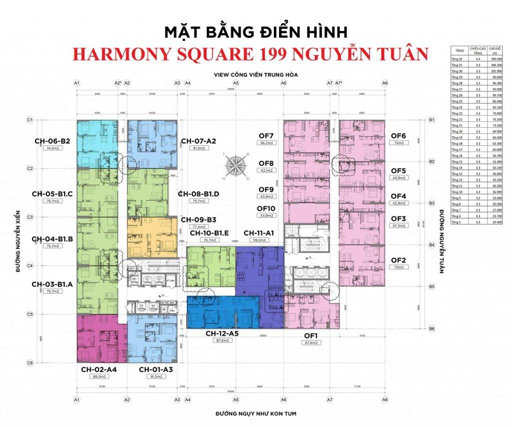 Mặt bằng căn hộ chung cư Harmony Square 199 Nguyễn Tuân