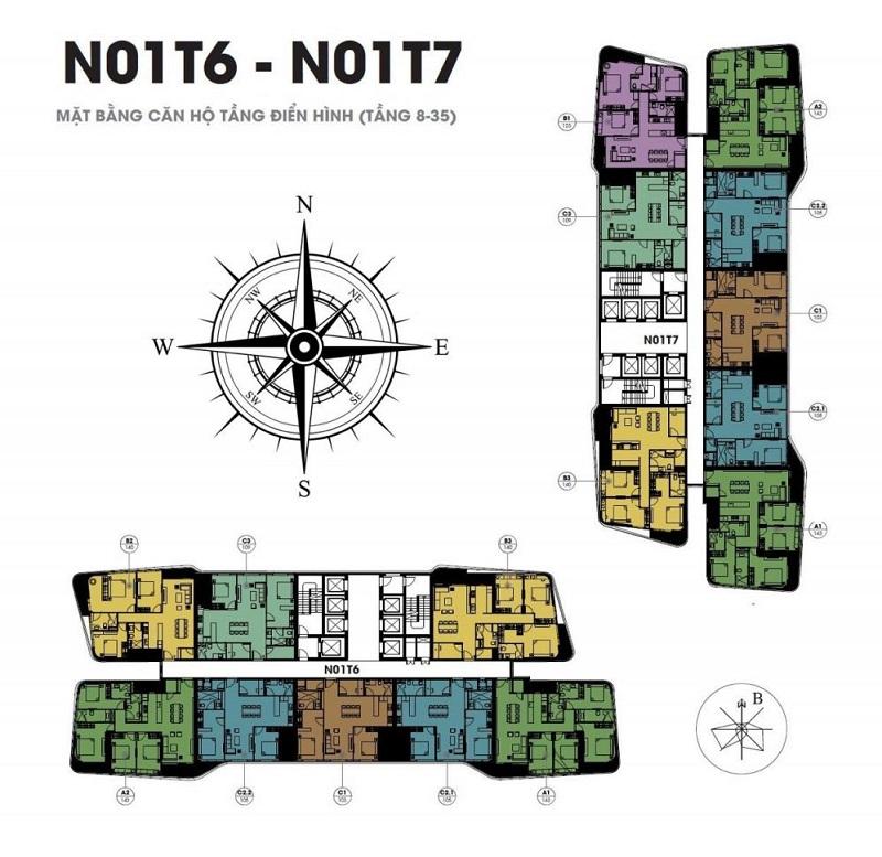 Mặt bằng căn hộ dự án Han Jardin N01 T6-T7 Ngoại Giao Đoàn