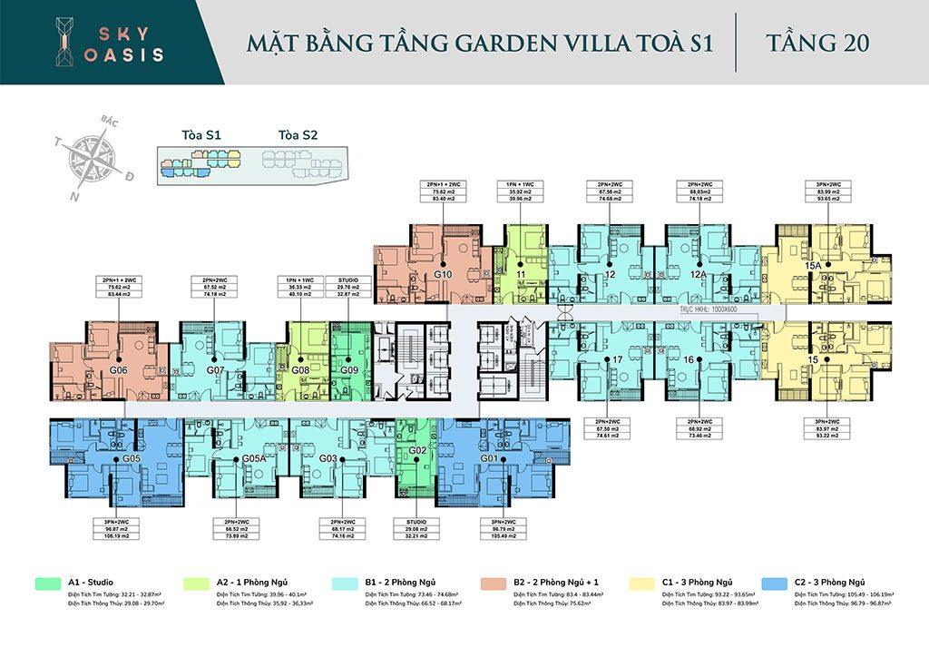 Mặt bằng tầng 20 - Garden Villa chung cư Sky Oasis Ecopark