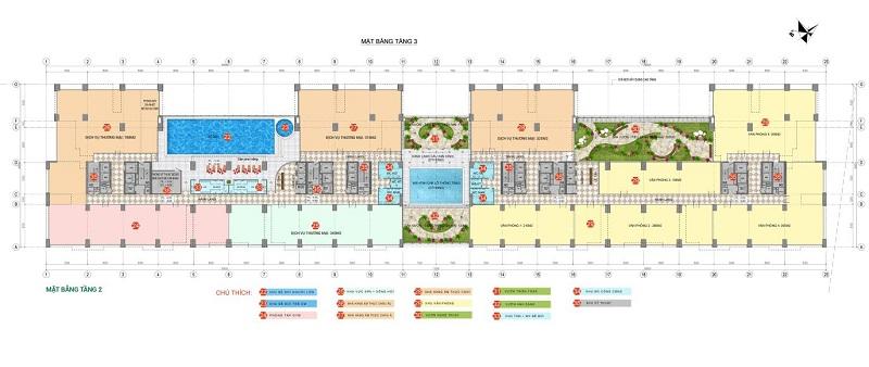 Mặt bằng tầng 3 dự án Phương Đông Green Park số 01 Trần Thủ Độ
