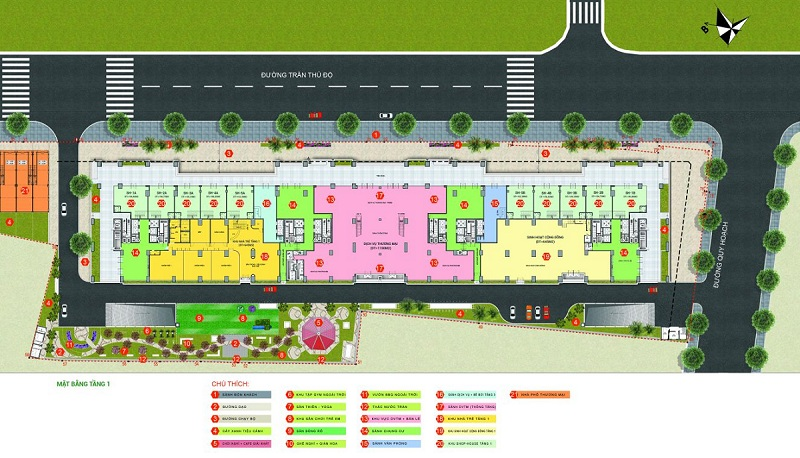 Mặt bằng tiện ích dự án Phương Đông Green Park số 01 Trần Thủ Độ