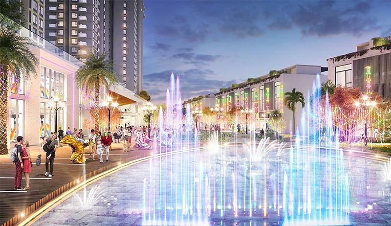 Quảng trường ánh sáng dự án Shophouse Sky Oasis Ecopark