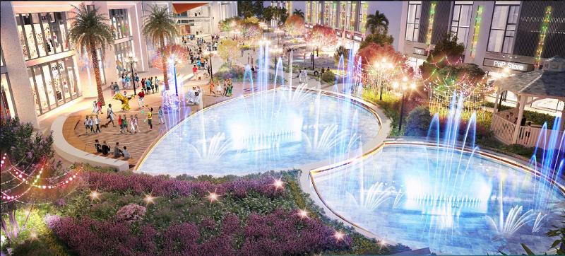 Quảng trường nước dự án Shophouse Sky Oasis Ecopark