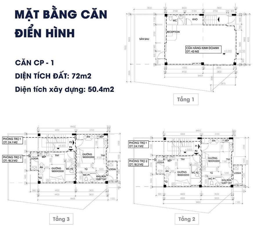Mẫu thiết kế 3 Shophouse Apec Điềm Thụy Centerpoint Thái Nguyên