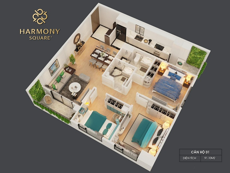 Thiết kế 3D căn hộ 01 dự án chung cư Harmony Square 199 Nguyễn Tuân