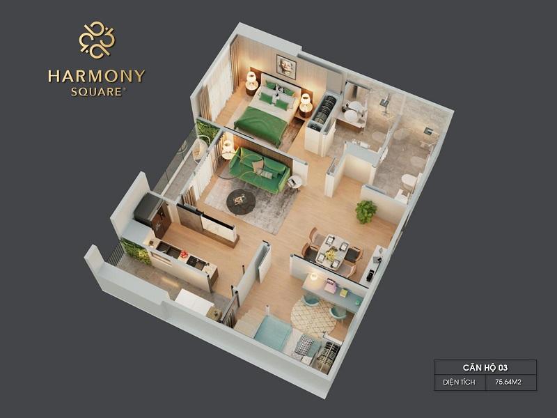 Thiết kế 3D căn hộ 03 dự án chung cư Harmony Square 199 Nguyễn Tuân