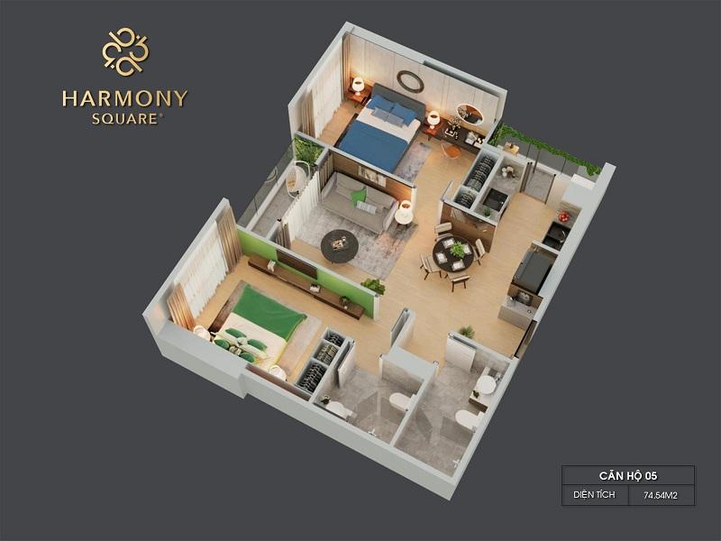 Thiết kế 3D căn hộ 05 dự án chung cư Harmony Square 199 Nguyễn Tuân