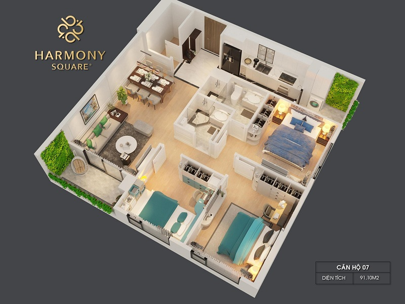 Thiết kế 3D căn hộ 07 dự án chung cư Harmony Square 199 Nguyễn Tuân