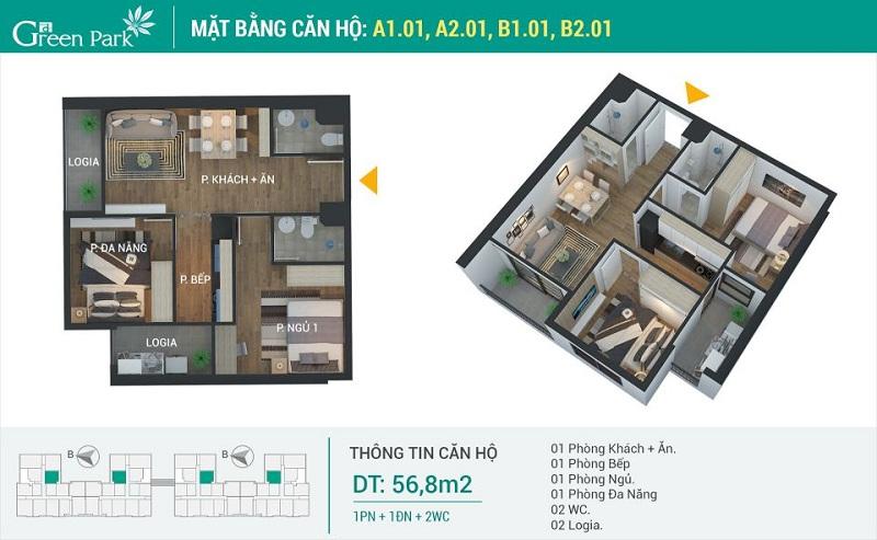 Thiết kế căn 01 dự án Phương Đông Green Park số 01 Trần Thủ Độ